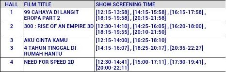 movie timings 20